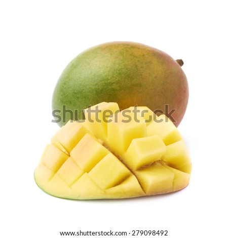 Free mango hedgehog style cut ripe mango half on a white detail hedgehog style served mango composition isolated over the white background 279098492 ccuart Choice Image