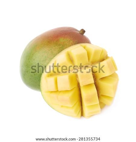Newest free mango hedgehog style cut ripe mango half on a white hedgehog style served mango composition isolated over the white background 281355734 ccuart Choice Image