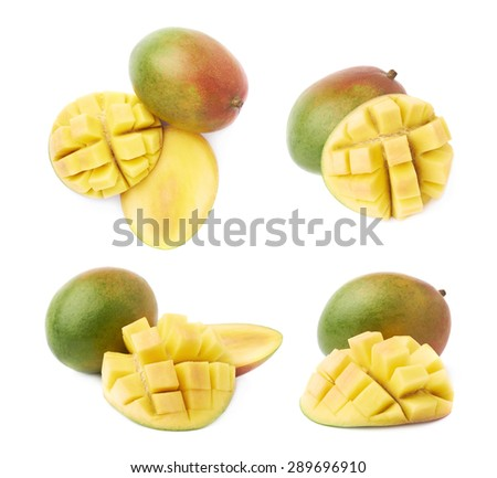 Free mango hedgehog style cut ripe mango half on a white detail hedgehog style served mango composition isolated over the white background set of four different foreshortenings ccuart Choice Image
