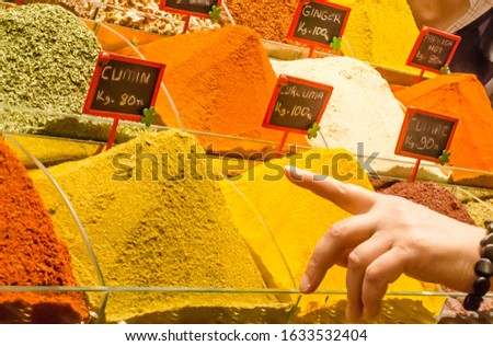 Heep of spices in the turkish spice bazaar in Istanbul