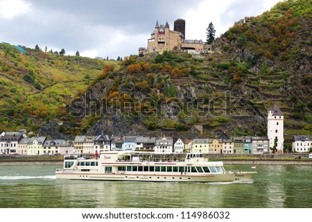 HEIDE - SEPTEMBER 28: Cruise ship Asbach. Cruising the middle-Rhine River is an excellent way to discover the castles and medieval towns of this part of Germany; September 28, 2012 in Heide,Germany.
