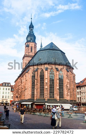 HEIDELBERG - AUGUST 4: Church of the Holy Spirit in Heidelberg, Germany on August 4, 2013. The Church of the Holy Spirit is first mentioned in 1239.