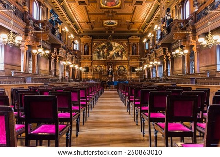 HEIDELBERG, GERMANY February 14, 2015: An old assembly and lecture hall at the University of Heidelberg