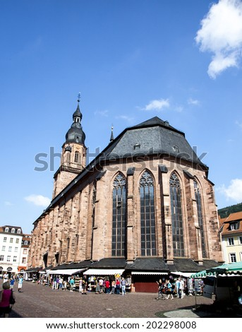 HEIDELBERG, GERMANY - JULY 6, 2014: Church of the Holy Spirit in Heidelberg, Germany . The Church of the Holy Spirit is first mentioned in 1239.