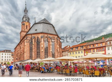 HEIDELBERG, GERMANY - MAY 28, 2015: Church of the Holy Spirit in Heidelberg. The Church of the Holy Spirit is first mentioned in 1239.