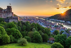 Heidelberg town with the famous old bridge and Heidelberg castle, Heidelberg, Germany