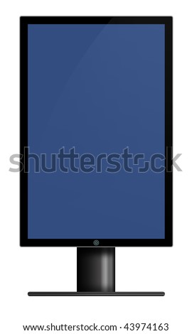 Height screen monitor on white background, Clipping path included.