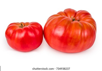 Stock photo of heirloom tomato isolated on white background