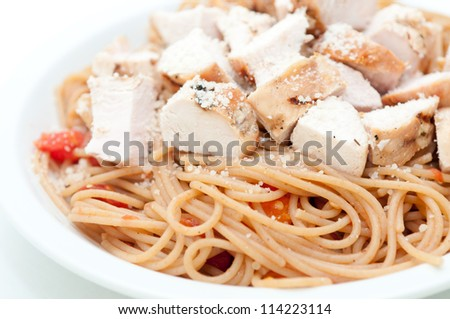 heirloom tomato sauce with diced chicken,and fresh whole wheat noodles with parmesan cheese