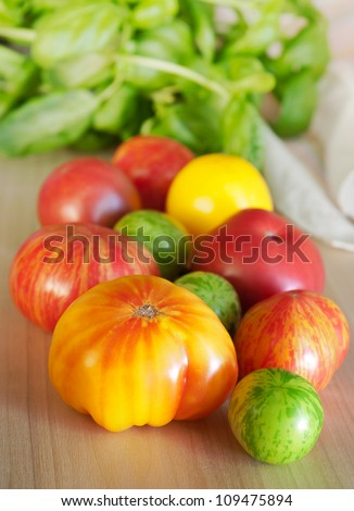 Heirloom tomatoes and basil
