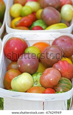 heirloom tomatoes organic multicolored tomatoes - stock photo