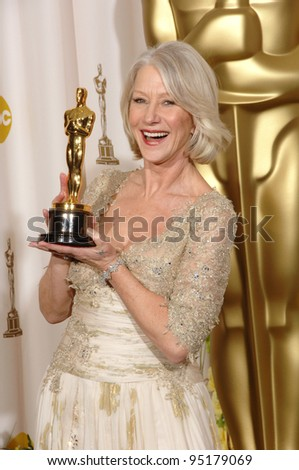"""Helen Mirren - Best Actress winner for """"The Queen"""" - at the 79th Annual Academy Awards at the Kodak Theatre, Hollywood. February 26, 2007  Los Angeles, CA Picture: Paul Smith / Featureflash"""