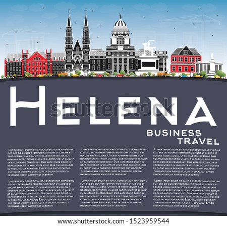 Helena Montana City Skyline with Color Buildings, Blue Sky and Copy Space. Business Travel and Tourism Concept with Historic Architecture. Helena USA Cityscape with Landmarks.