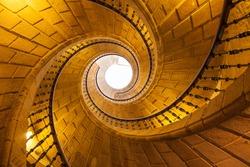 Helical staircase in Santo Domingo de Bonaval. Santiago de Compostela, Spain