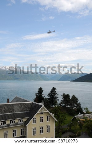 Helicopter above Balestrand on Sognefjord