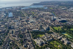 Helicopter aerial shot of Cardiff City Centre, Wales, UK