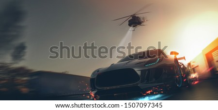 Helicopter car chase - front view, conceptual (with grunge overlay) - 3d illustration Foto stock ©