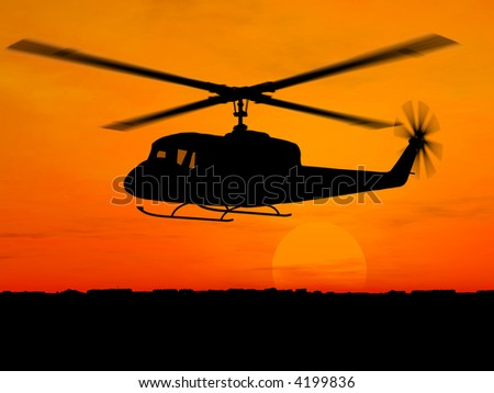 helicopter 3d military over