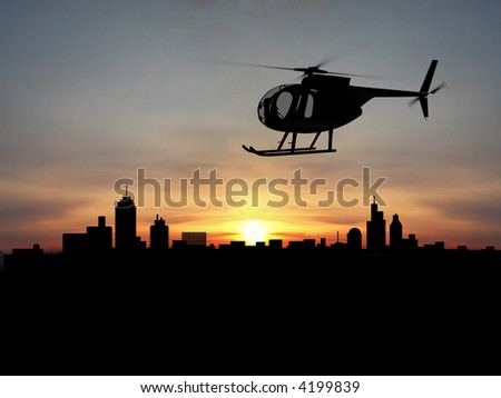 Helicopter 3d  over night city