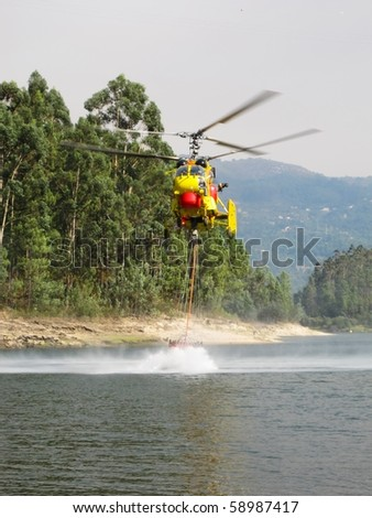 Helicopter fighting fire at Geres, north of Portugal