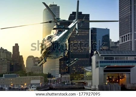Helicopter flies through Manhattan South