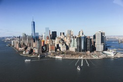 helicopter flight over the city