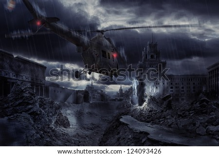 Helicopter flying at night over ruined Moscow city Zdjęcia stock ©