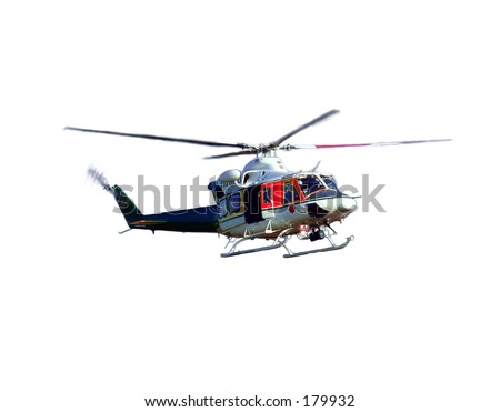 helicopter in the air over white background. Photo stock ©