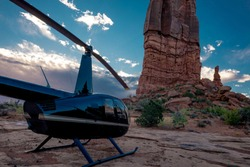 Helicopter In The Deserts Of The American Southwest