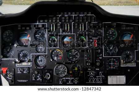 Helicopter instrument and control panel - stock photo