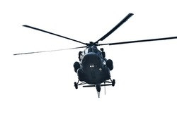 helicopter is flying on white background