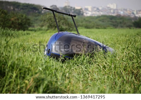 Helicopter is seen after a crash in Sao Paulo, Brazil.  Photo stock ©