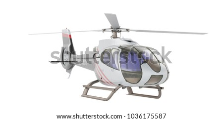 Helicopter isolated on the white background. 3D rendering
