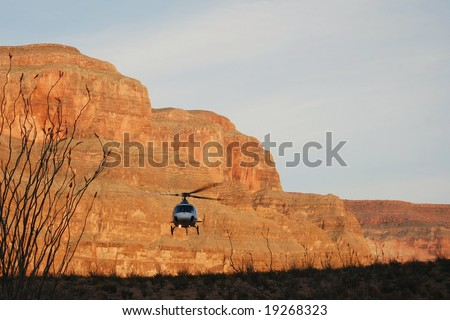 Helicopter landing at the Grand Canyon - stock photo