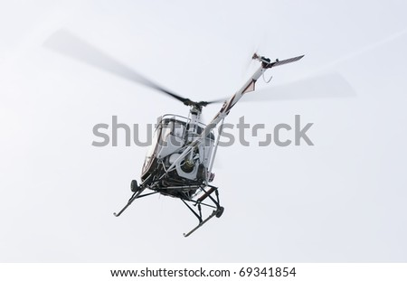Helicopter landing close up