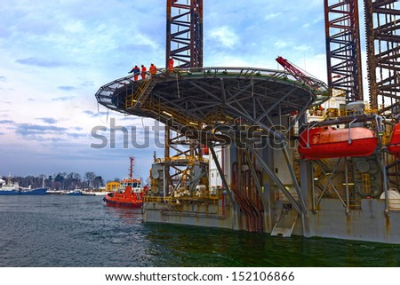 Helicopter landing pad on Oil Rig.