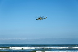 helicopter over the sea