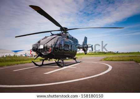 Helicopter parked at the helipad