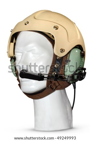 Helicopter pilot anti-noise headset Isolated on white background with a clipping path - stock photo