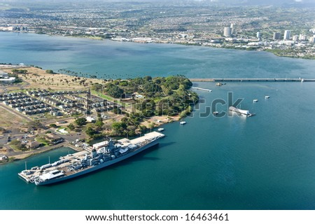 Helicopter shot of Pearl Harbor, Hawaii