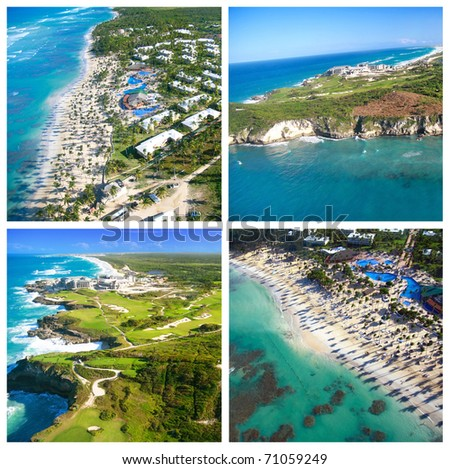 Helicopter view collage with caribbean coastline