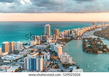 Helicopter view of South Beach, Miami.