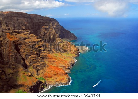 Helicopter view of the Hawaiian coast from