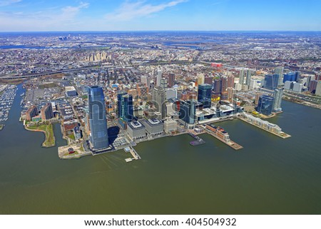 Helicopter view on New Jersey skyline, USA, from Hudson River.