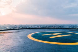 Helipad sunset Bangkok, Thailand, rooftop helicopter, top of the building, skyline, helicopter landing area in the city