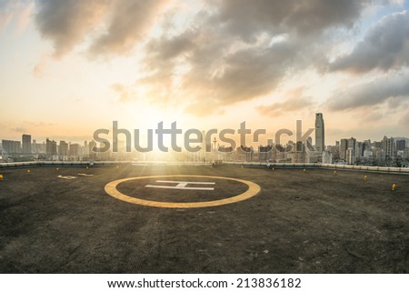 heliport and skyline in...