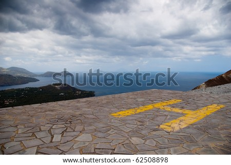 Heliport on top of Grand Crater, island Volcano, Lipari Islands, Sicily