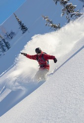 heliski snowboarding. freerider in a bright suit rides snowboarding with large splashes of snow on a sunny day. Young snowboarder. concept snowboard. big swirls of fresh snow in Good powder day