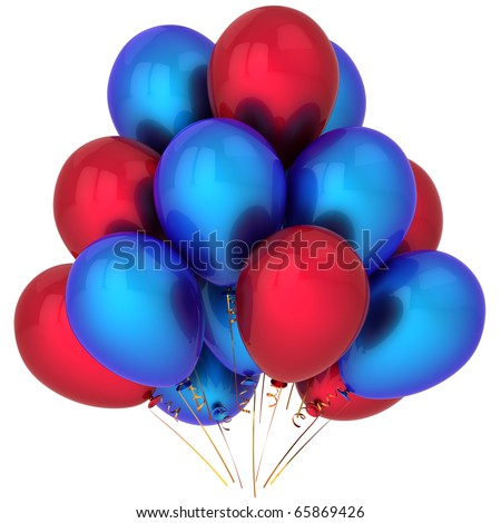 Helium Balloons Red Blue Colorful. Beautiful Happy Birthday Party