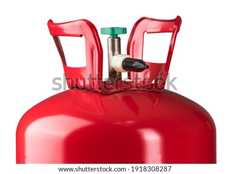 Helium tank. Metal liquefied compressed helium gas container for filling or inflating Balloons good for birthday and other holidays.  Stock fotó ©